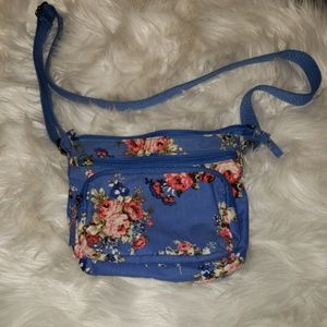 Mossimo multi zip blue floral purse
